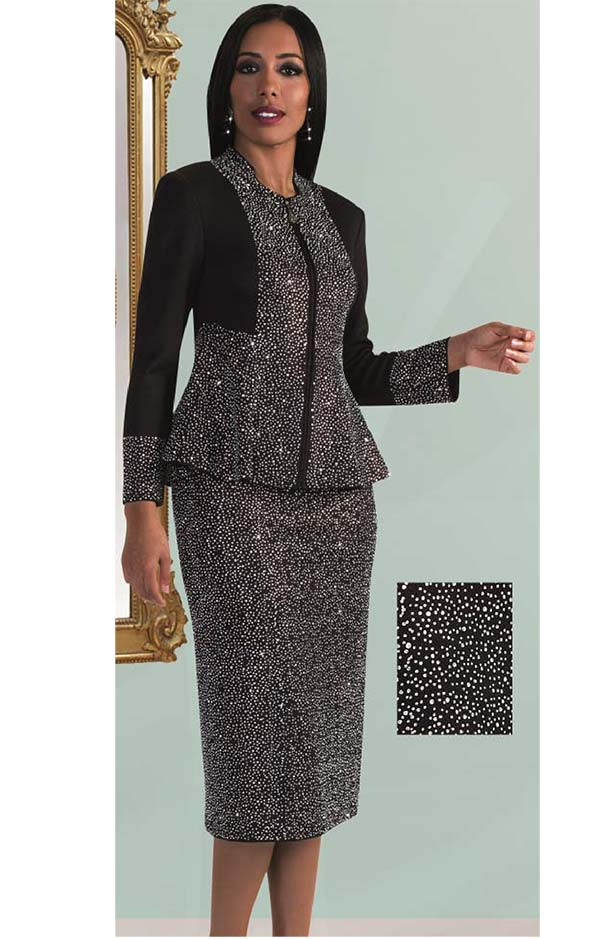 Liorah Knits 7226-Black - Rhinestone Encrusted Knit Skirt Suit With Peplum Jacket