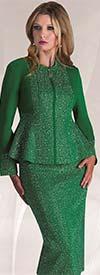 Liorah Knits 7226-Emerald - Rhinestone Encrusted Knit Skirt Suit With Peplum Jacket