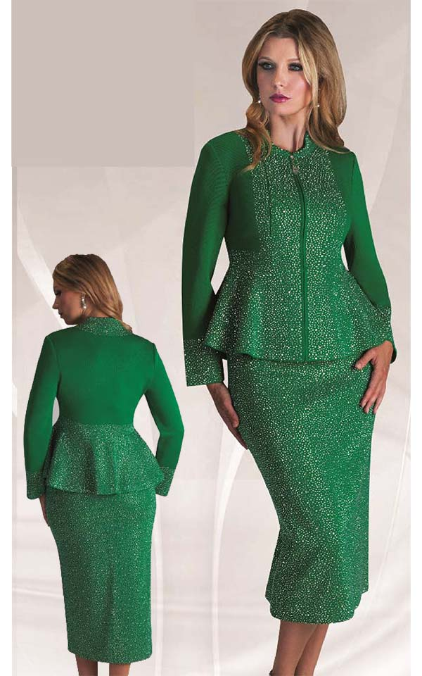 Liorah Knits 7226-Emerald - Rhinestone Encrusted Knit Skirt Suit With Peplum Jacket