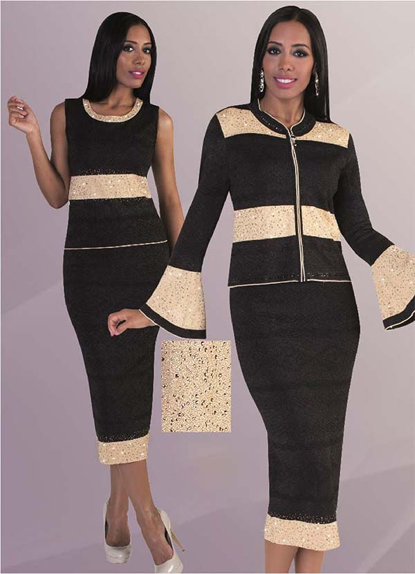 Liorah Knits 7227 - Knit Skirt Outfit With Bell Sleeves & Rhinestone Details