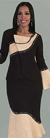 Liorah Knits 7231 - Rhinestone Trimmed Flared Knit Skirt Suit With Bell Sleeves & Overlap Top Design