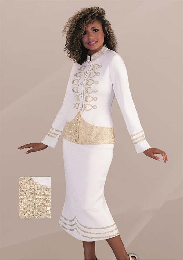 Liorah Knits 7232 - Rhinestone Embellished Flared Knit Skirt Suit With Army Inspired Design