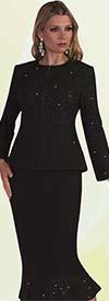 Liorah Knits 7234 - Rhinestone Trimmed Knit Mermaid Skirt Suit With Jewel Neckline