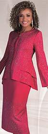 Liorah Knits 7235-Fuchsia - Knit Church Suit With Rhinestone Trimmed Double Peplum Jacket & Skirt