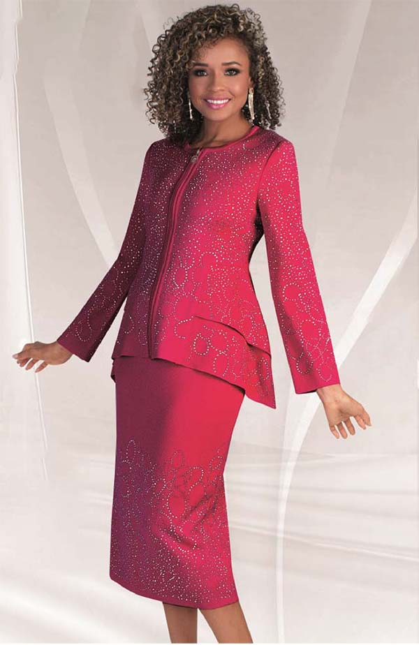 Liorah Knits 7235-Fuchsia - Knit Church Suit With Rhinestone Trimmed Double Peplum Jacket & Skirt