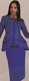 Liorah Knits 7235-Royal - Knit Church Suit With Rhinestone Trimmed Double Peplum Jacket & Skirt