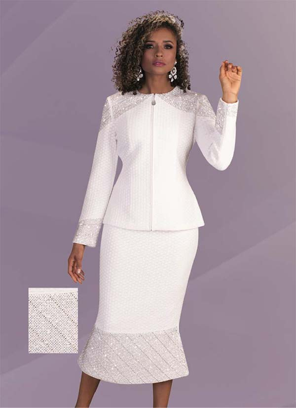 Liorah Knits 7236 - Rhinestone Trimmed Flared Skirt Suit In Textured Knit Fabric