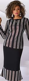 Liorah Knits 7243-Black - Striped Rhinestone Pattern Design Ladies Knit Suit With Flounce Skirt