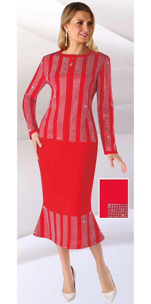 Liorah Knits 7243-Red - Striped Rhinestone Pattern Design Ladies Knit Suit With Flounce Skirt