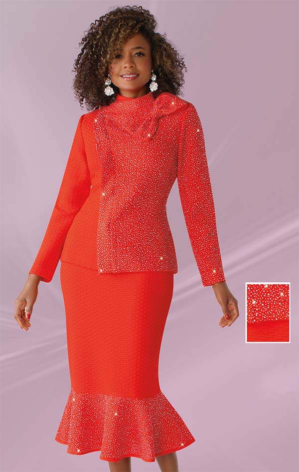 Liorah Knits 7244-Orange - Womens Rhinestone Embellished Knit Flounce Hem Skirt Suit With Bow