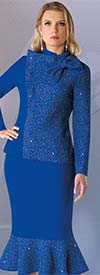 Liorah Knits 7244-Royal - Womens Rhinestone Embellished Knit Flounce Hem Skirt Suit With Bow