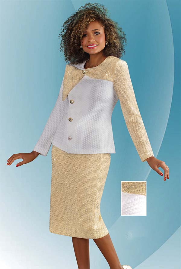 Liorah Knits 7245 - Ladies Knit Church Suit With Dual Color Jacket And Solid Skirt