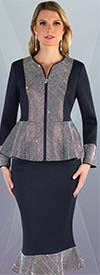 Liorah Knits 7246-Black - Rhinestone Embellished Flounce Knit Skirt Suit With Peplum Jacket
