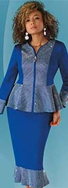 Liorah Knits 7246-Royal - Rhinestone Embellished Flounce Knit Skirt Suit With Peplum Jacket