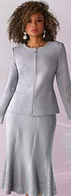 Liorah Knits 7247-Grey - Womens Rhinestone Embellished Knit Flared Skirt Suit