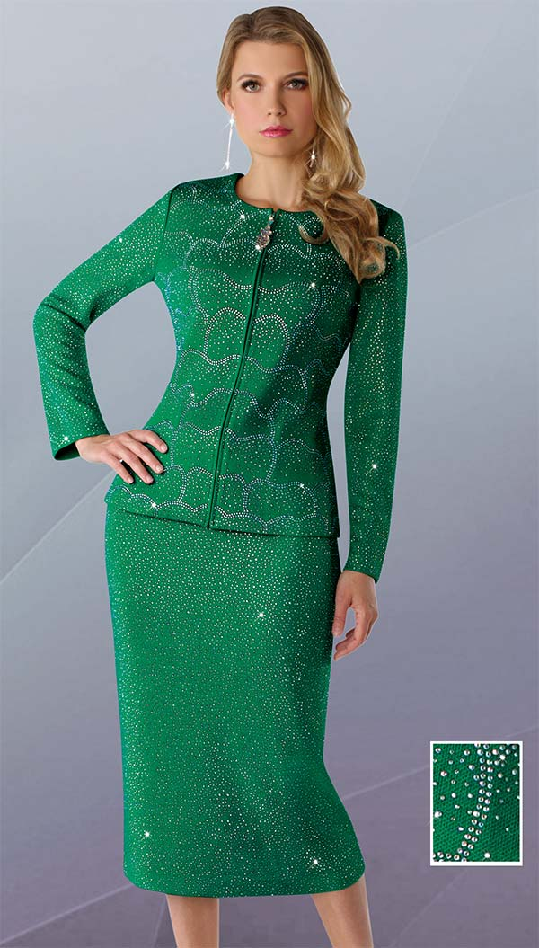 Liorah Knits 7248 - Two Piece Rhinestone Embellished Knit Skirt Suit