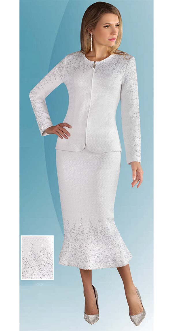 Liorah Knits 7249 - Embellished Womens Knit Church Suit With Flared Skirt