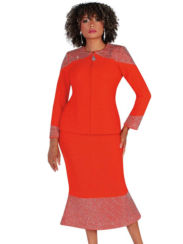 Liorah Knits 7236-Burnt-Orange - Rhinestone Embellished Knit Flounce Hem Skirt Suit