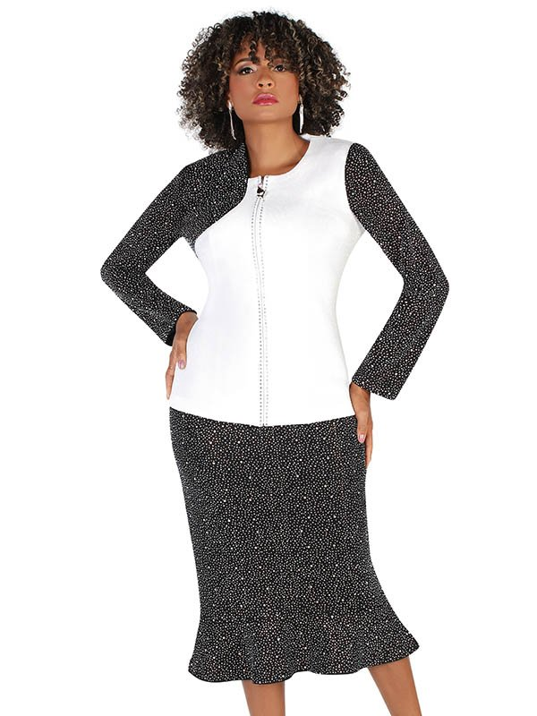 Liorah Knits 7253-Black/White - Rhinestone Embellished Knit Asymmetric Shoulder Pattern Suit