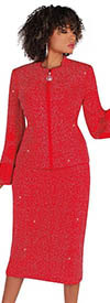 Liorah Knits 7254-Red - Rhinestone Embellished Knit Bell Sleeve Suit