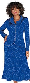 Liorah Knits 7256-Royal - Rhinestone Embellished Asymmetric Collar With Jewel Cluster Buttons Suit