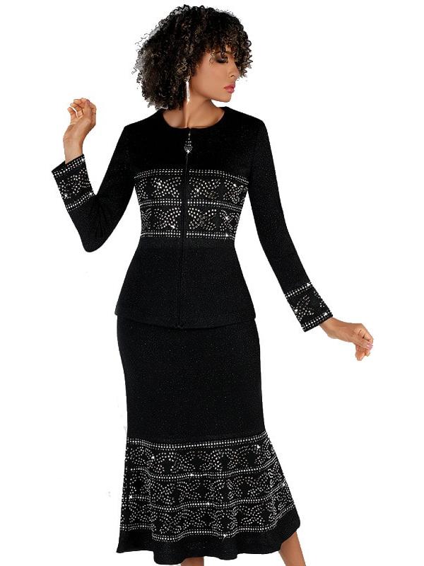 Liorah Knits 7257-Black - Pattern Band Embellished Suit