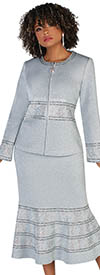 Liorah Knits 7257-Silver- Pattern Band Embellished Suit