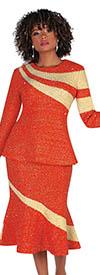 Liorah Knits 7258-Burnt Orange / Champagne - Rhinestone Embellished Ribbon Wrap Pattern Suit