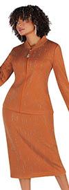 Liorah Knits 7259-Amberglow - Rhinestone Embellished Rainfall Pattern Suit