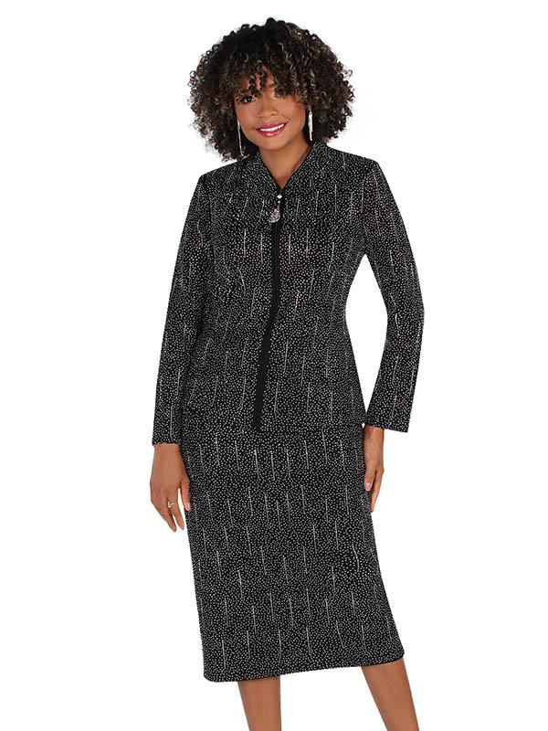 Liorah Knits 7259-Black - Rhinestone Embellished Rainfall Pattern Suit