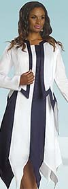 Lisa Rene 3261 Striped Sawtooth Hem Sleeveless Dress With Long Sleeve Jacket