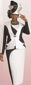 Lisa Rene 3268-WhiteBlack - Church Suit In Two Tone Design With Ruffle Detail Jacket