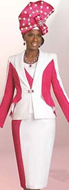 Lisa Rene 3268-WhiteFuchsia - Church Suit In Two Tone Design With Ruffle Detail Jacket