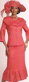 Lisa Rene 3275 - Ladies Bertha Collar Church Suit With Scalloped Flounce Hem Skirt