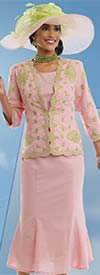 Lisa Rene 3305-PinkLime - Womens Pleated Skirt Suit With Embroidered Scallop Trim Jacket