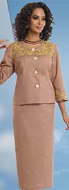 Lisa Rene 3306 - Linen Skirt Suit With Metallic Embroidery