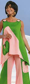 Lisa Rene 3311-PinkLime - Womens Linen Tunic & Pant Set With Wood Look Trims