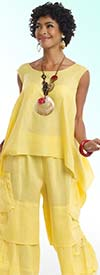 Lisa Rene 3312-Yellow - Ladies Tunic & Pant Set With Pockets