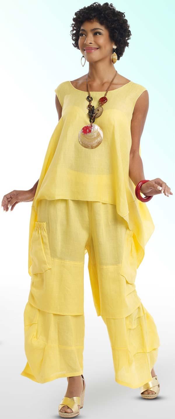Lisa Rene 3312-Yellow - Ladies Tunic & Pant Set With Pockets