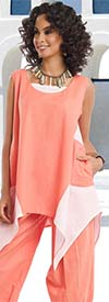 Lisa Rene 3313-CoralWhite - Ladies Sharkbite Style Tunic With Cuffed Pants In Linen Fabric