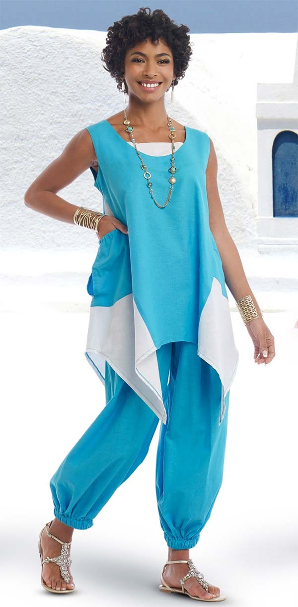 Lisa Rene 3313-TurquoiseWhite - Ladies Sharkbite Style Tunic With Cuffed Pants In Linen Fabric