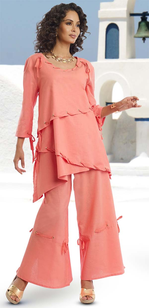 Lisa Rene 3314-Coral - Tunic & Flared Pant Set With Gold Grommets & Lacings