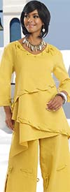 Lisa Rene 3314-Mustard - Tunic & Flared Pant Set With Gold Grommets & Lacings
