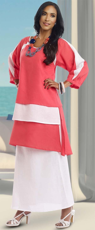 Lisa Rene 3315-RedWhite - Ladies Layered Tunic & Skirt Set In Linen Fabric