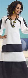 Lisa Rene 3315-WhiteBlack - Ladies Layered Tunic & Skirt Set In Linen Fabric