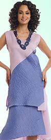 Lisa Rene 3316-OrchidDenim - Womens Linen Tunic & Skirt Set With Inset Pleating
