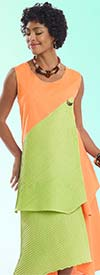 Lisa Rene 3316-PeachLime - Womens Linen Tunic & Skirt Set With Inset Pleating