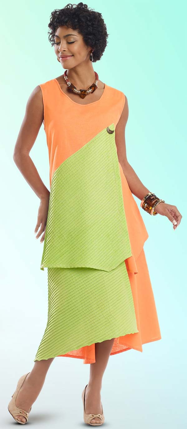 Lisa Rene 3316-PeachLime - Womens Linen Tunic & Skirt Set With Inset Pleating
