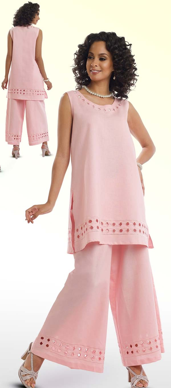 Lisa Rene 3317-PinkWhite - Ladies Tunic & Pant Set With Cut-Out Embroidery