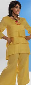 Lisa Rene 3318-Mustard - Womens Layered Tunic & Pant Set In Linen Ramie Fabric